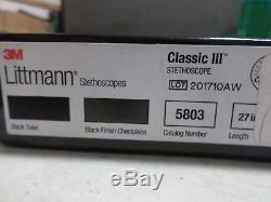 3M Littmann Classic III Stethoscope, Matte Chestpiece, Black Tube, 27 inch, 5803