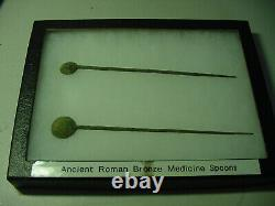 Lot Of 2 Ancient Roman Bronze Medical Spoon / Tool Surgical Equipment 200-300ad