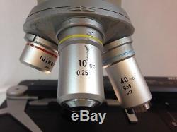 Nikon Binocular Microscope Model SC 4x 10x 40x Oil Objectives