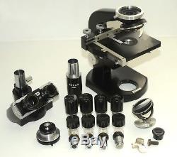 Nikon Trinocular microscope in makers box with 4 objectives 4 10 40 100 + extras