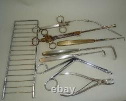 Vintage Old Doctor Bag with Medical Equipment & Instuments inside, First Aid Bag