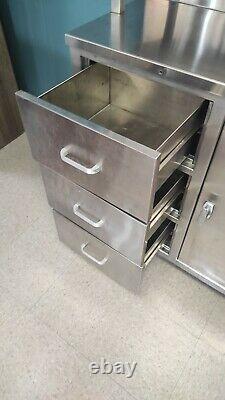 Vintage Stainless Steel Metal Medical Cabinet By Atlas Hospital Equipment