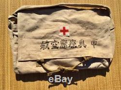 WWII Japanese Navy Aircraft Medical Equipment bag with Red cross and kanji